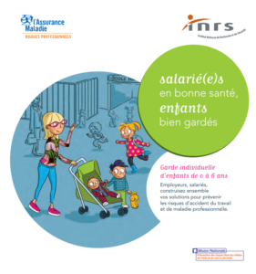 illustration de la fiche de prévention santé garde individuelle enfants dessin d'une mère et enfants en poussette