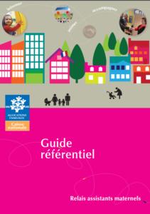 illustration du guide référentiel ram ville colorée et parents et enfants en poussette