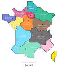 carte de France colorée