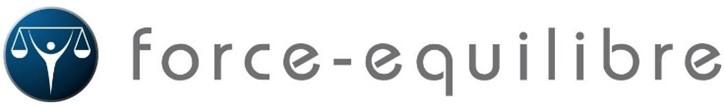 Logo force équilibre personnage avec une balance