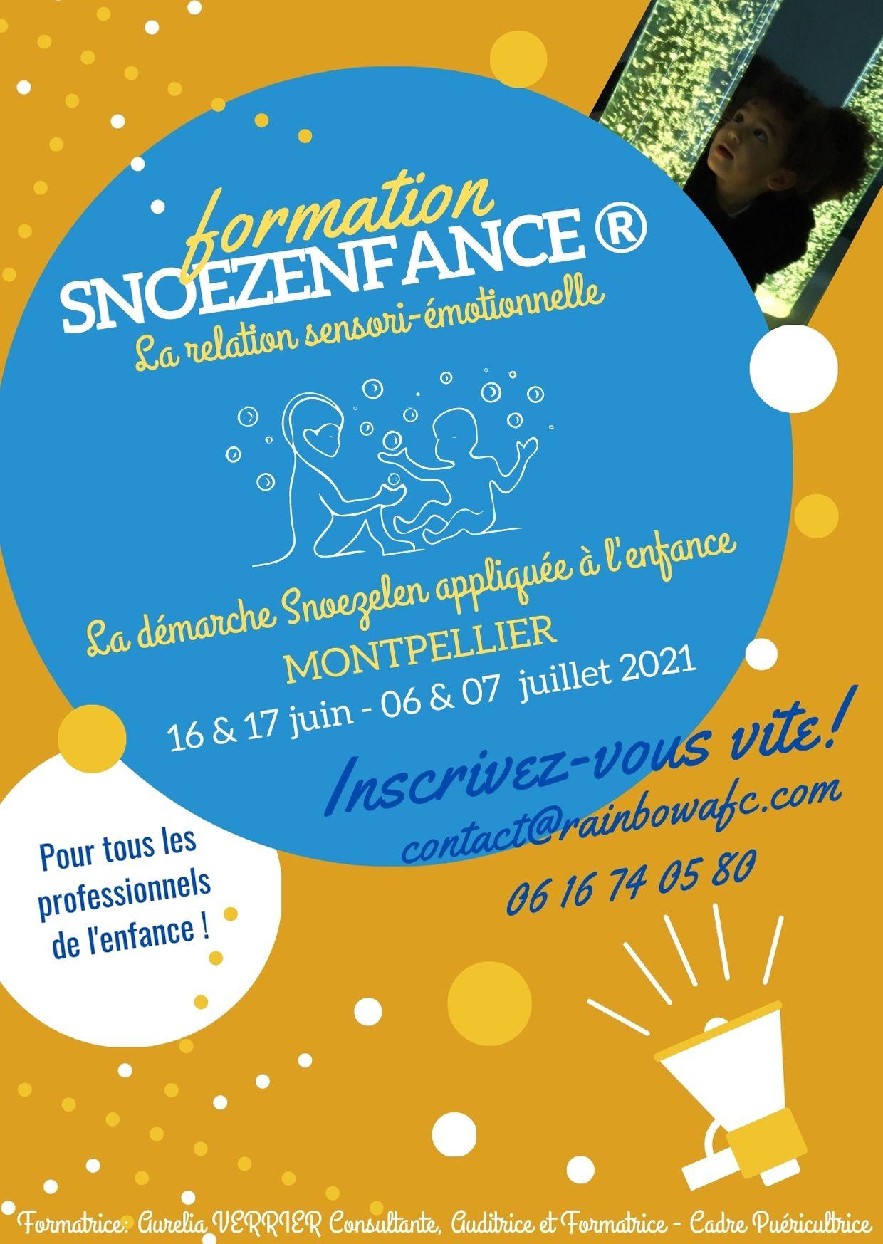 flyer ocre et bleu formation Snoezenfance Montpellier juin et juillet 2021