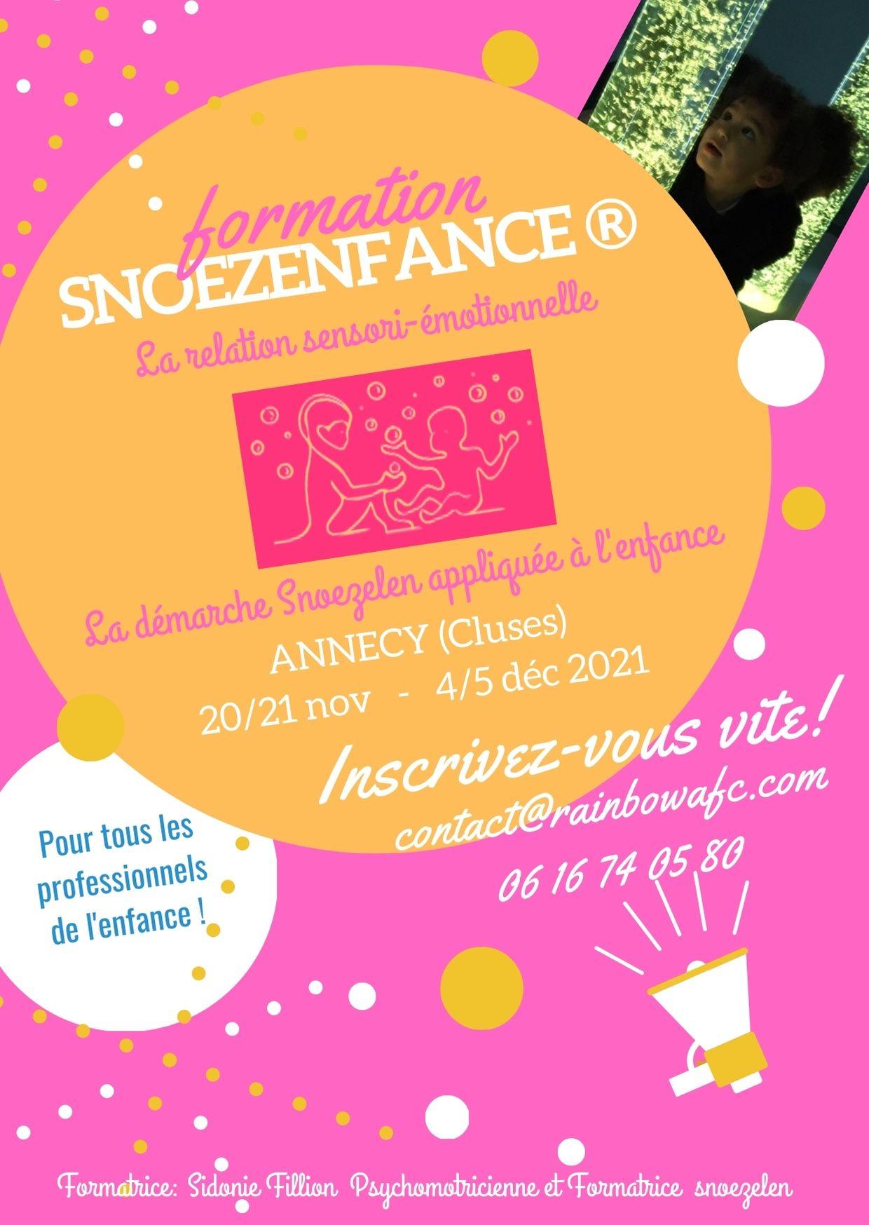 Flyer rose et orange formation Snoezenfance Annecy novembre et décembre 2021