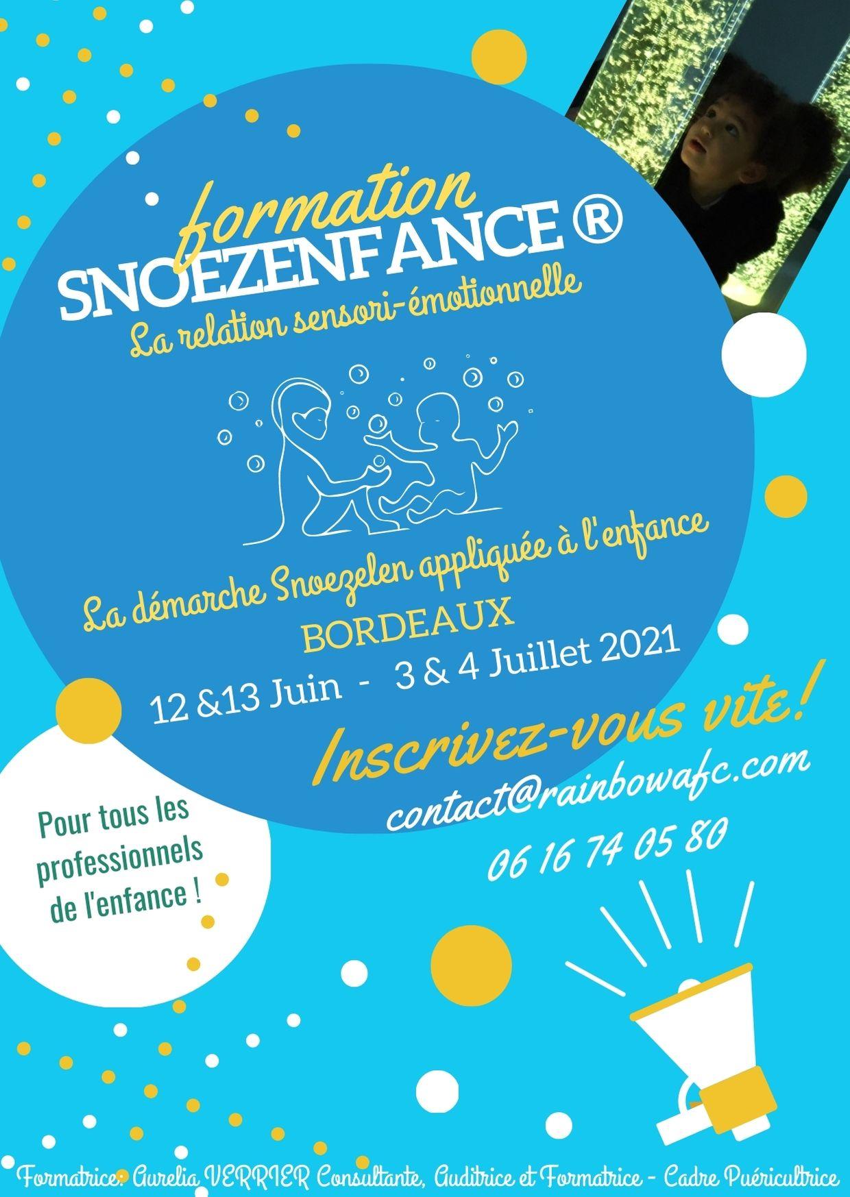 Flyer de présentation de la formation Snoezelen Bordeaux juin et juillet 2021
