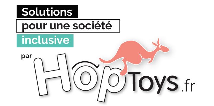 Logo HopToys avec un kangourou rose